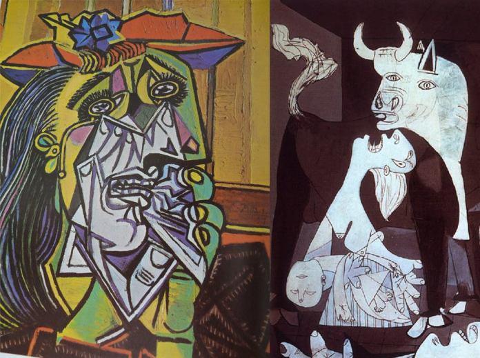 """""""Mujer llorando"""" y detalle de """"Guernica""""."""